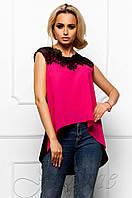 Эксклюзивная легкая блуза из шифона с шикарным кружевом Хасин малина Jadone Fashion 42-48 размеры