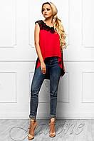 Эксклюзивная легкая блуза из шифона с шикарным кружевом Хасин красный Jadone Fashion 42-48 размеры