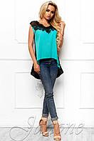 Эксклюзивная легкая блуза из шифона с шикарным кружевом Хасин бирюза Jadone Fashion 42-48 размеры
