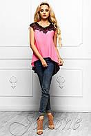 Эксклюзивная легкая блуза из шифона с шикарным кружевом Хасин розовый Jadone Fashion 42-48 размеры