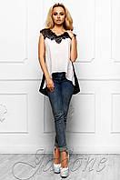 Эксклюзивная легкая блуза из шифона с шикарным кружевом Хасин молоко Jadone Fashion 42-48 размеры