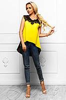 Эксклюзивная легкая блуза из шифона с шикарным кружевом Хасин желтый  Jadone Fashion 42-48 размеры