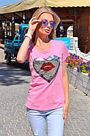 Модная футболка приталенного силуэта, декорировано сердцем из двухсторонней пайетки (рисунок меняется).