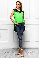 Эксклюзивная легкая блуза из шифона с шикарным кружевом Хасин салатовый  Jadone Fashion 42-48 размеры