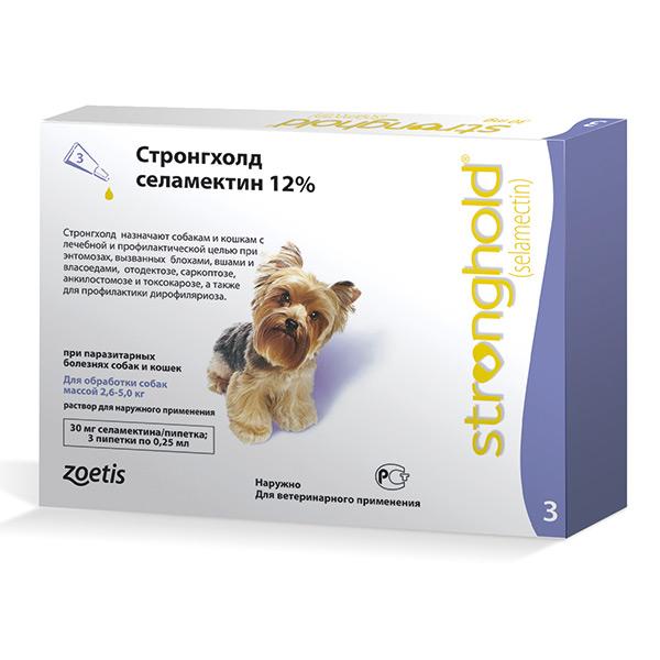 Стронгхолд Stronghold 12% для собак (2,6-5кг)(1мл)(3шт.упак)(за 1 шт)