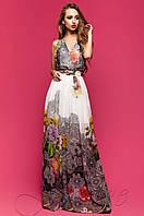 Длинное шифоновое платье в пол Карри комбинированный_7 Jadone Fashion 42-48 размеры