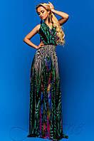 Длинное летнее шифоновое платье в пол Карри комбинированный_7 Jadone Fashion 42-48 размеры
