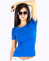 Синяя футболка женская без рисунка яркая спортивная летняя с коротким рукавом хлопок стрейч (Украина)