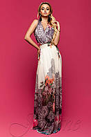 Шифоновое платье в пол Карри комбинированный_6 Jadone Fashion 42-48 размеры