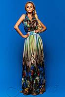 Женское летнее платье в пол Карри комбинированный_2 Jadone Fashion 42-48 размеры