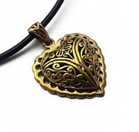 """Амулет """"Вірності"""" амулет для влюбленных, сердце , шнурок 70 см, метал, бронза, амулет для закоханих"""