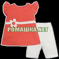 Детский летний костюм р. 74-80 для девочки ткань ИНТЕРЛОК 100% хлопок ТМ Ромашка 3673 Алый 74