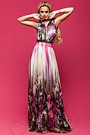 Летнее шифоновое платье в пол Карри комбинированный_4 Jadone Fashion 42-48 размеры
