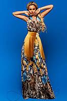 Женское длинное шифоновое платье Карри комбинированный_5 Jadone Fashion 42-48 размеры