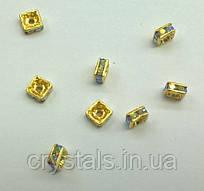 Квадратные разделители для бусин Preciosa (Чехия) 4,5x4,5 мм Crystal AB