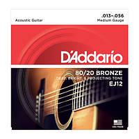 Струны D'Addario EJ12 Acoustic Guitar 80/20 Environmental Medium, 13/56,