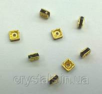 Квадратні розділювачі для намистин Preciosa (Чехія) 4,5x4,5 мм Jet/золото