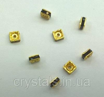Квадратные разделители для бусин Preciosa (Чехия) 4,5x4,5 мм Jet/золото