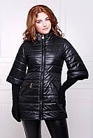 Модная демисезонная женская длинная куртка с рукавом три четверти черная