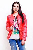 Коралловая демисезонная женская короткая куртка-жакет на синтепоне