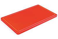 9821RJ4 , Доска кухонная с канавкой Durplastics 400х300х20 мм красная