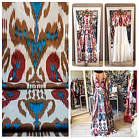 Шелковая ткань ручного ткачества. Узбекистан