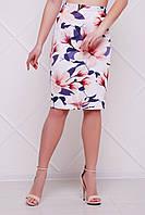 Летняя юбка по фигуре с цветочным принтом Магнолии мод. №14 Оригами