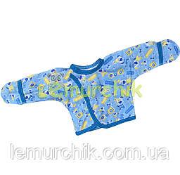 Сорочечка для новонароджених 100% бавовна 56, 62 р-н, блакитна