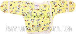 Сорочечка для новонароджених 100% бавовна 56, 62 р-н, жовта
