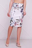 Белая облегающая летняя юбка с цветочным узором Орхидеи мод. №14 Оригами