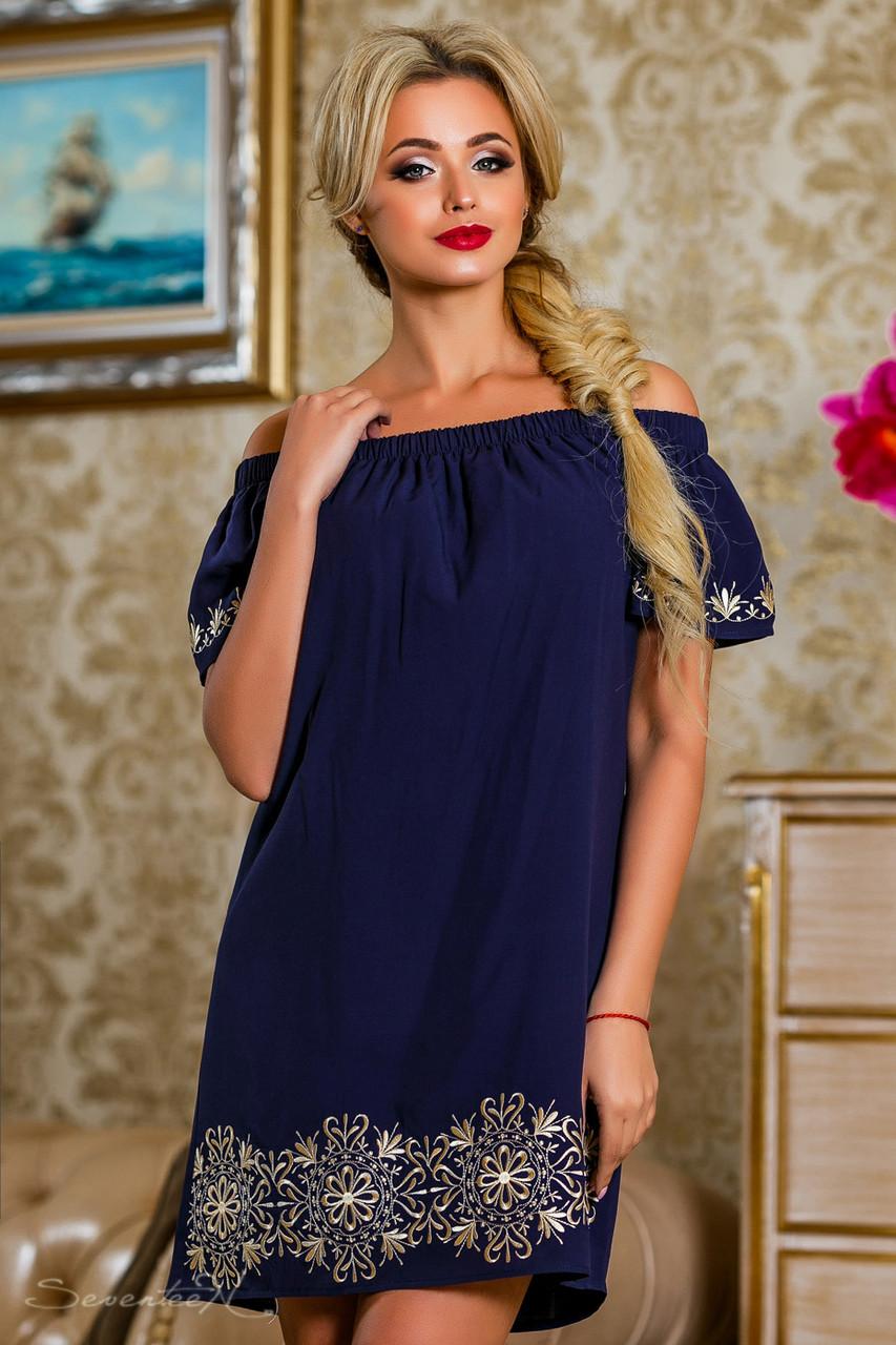 e0595d1534ee233 Эффектное женское платье (поплин, вышивка, короткие рукава, открытые плечи,  платье-