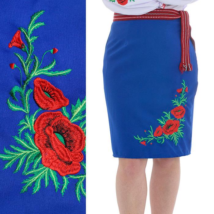Синяя юбка плахта до колена с вышивкой Соломия 55см
