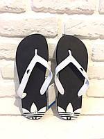 Мужские сланцы Adidas (Black & White)