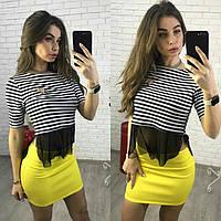 Костюм женский топ с баской в полоску и юбка мини разные цвета Kp484