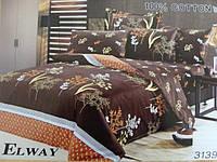 Сатиновое постельное белье евро ELWAY 3139