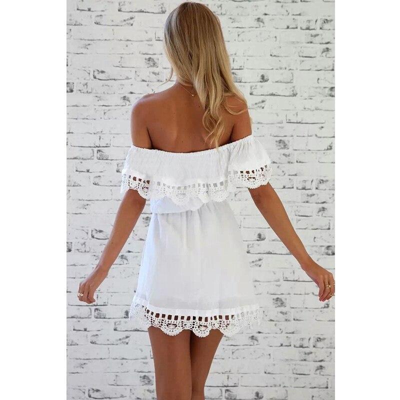 10c89f90248 Белое летнее платье с открытыми плечами