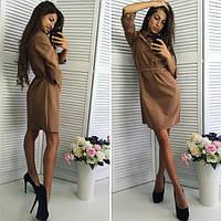 Однотонное платье с поясом