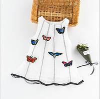 Летний сарафан для девочек с 3Д принтером Бабочки белый