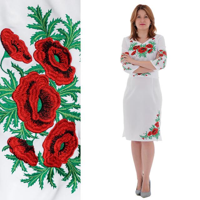 7e1211cf2a6 Вышитое платье Соломия с красными маками белого цвета - Интернет-магазин  Buyself.com.