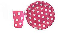 Набор праздничной посуды розовый в горошек на 1 персону