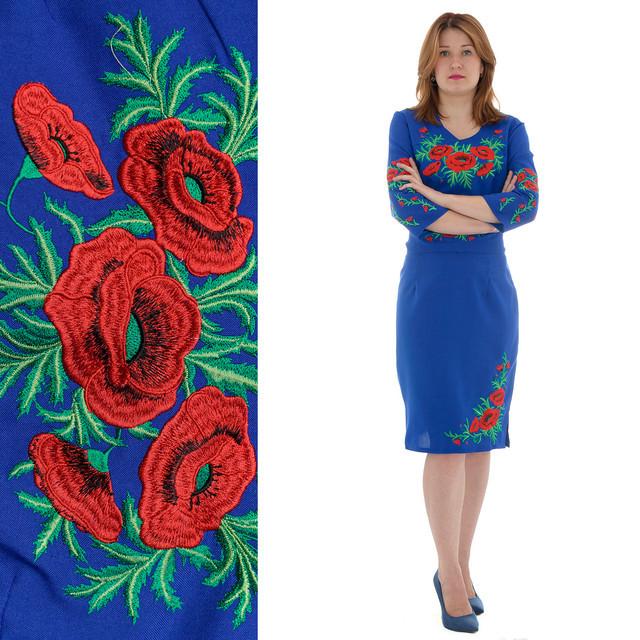 c6017478197 Вышитое платье Соломия с красными маками белого цвета