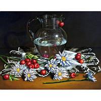"""Схема для вышивки бисером Натюрморт """"Ромашки с черешней"""""""