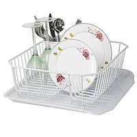 Сушка для посуды с поддоном (нерж./силикон)