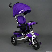 Велосипед трехколёсный 6699 Best Trike фиолетовый, белая рама, надувные колёса, поворотное сидение, фара, ключ