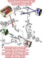 Сайлентблоки VW PASSAT (3B2) 96-01г; PASSAT (3B3) 00-05г; Variant (3B5) 97-01 Комплект 10шт ПЕРЕДНЯЯ ПОДВЕСКА, фото 1