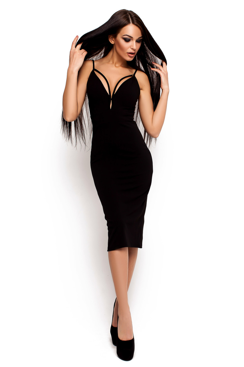 Платье миди с декольте Ривьера - Moda-Diana интернет магазин одежды в Харькове