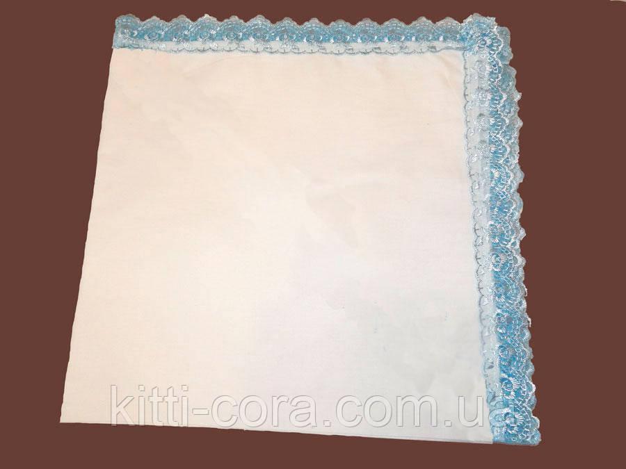 Крыжма для мальчика голубое кружево.Модель Beauty Blue 2