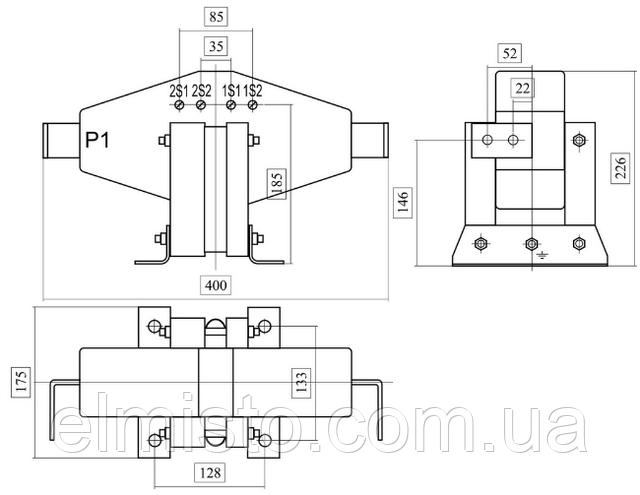 Габаритные, установочные, присоединительные размеры трансформаторов тока ТПЛ 10