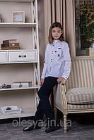 Блуза школьная c нашивками Elen Размеры 146- 170 Белый цвет