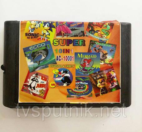 Картридж Sega 16bit Збірник 10 в 1 AC-10001, фото 2